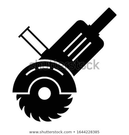hand saw tool circle icon stock photo © anna_leni