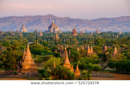 Landscape with pagoda and temples in Bagan Stock photo © Mikko