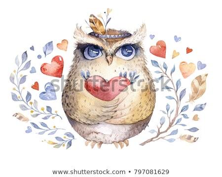 cartão · amor · bonitinho · aves · desenho · animado · estilo - foto stock © natalya_zimina