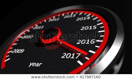 Stockfoto: Snelheidsmeter · jaar · groet · band · auto · weg