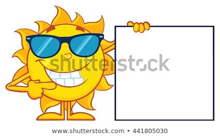 Beszél nap rajzfilm kabala karakter napszemüveg mutat Stock fotó © hittoon