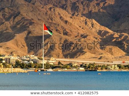 Jordanië vlag strand hemel water stad Stockfoto © zurijeta