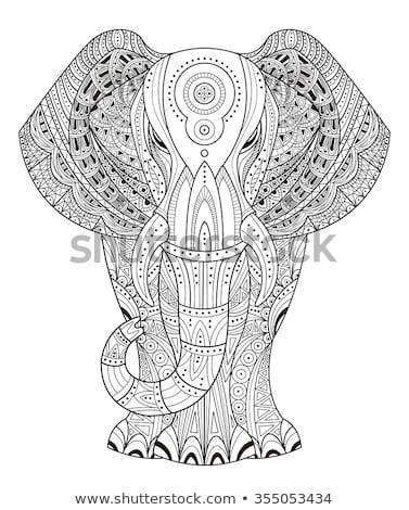 éléphant livre de coloriage page animaux adulte noir Photo stock © imagepluss