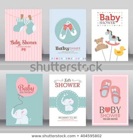 aranyos · babacipők · rózsaszín · gyerekek · gyermek · születésnap - stock fotó © adrenalina