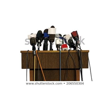 Sajtótájékoztató pódium fából készült beszéd három kicsi Stock fotó © albund