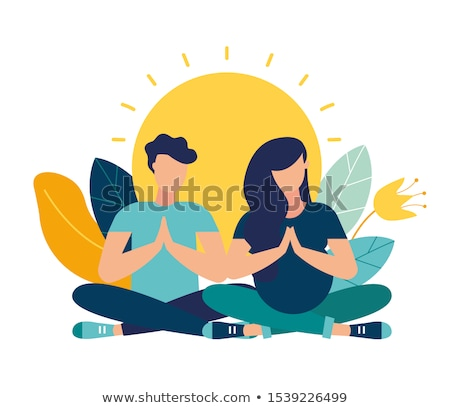 Vector flat style infographic of yoga. Man, woman, and girl in l Stock photo © curiosity