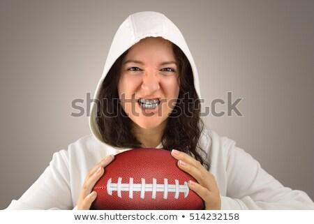 Vrouwelijke rugby speler bal permanente Stockfoto © wavebreak_media