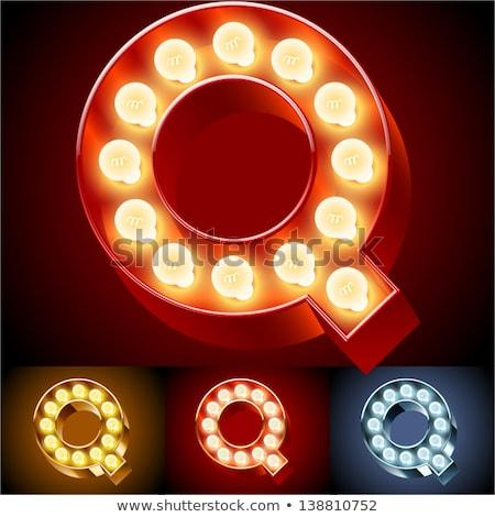 izzó · neon · betűtípus · fényes · q · betű · fekete - stock fotó © popaukropa