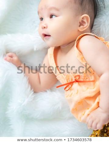 mosolyog · csecsemő · lány · aranyos · kislány · színes - stock fotó © JamiRae