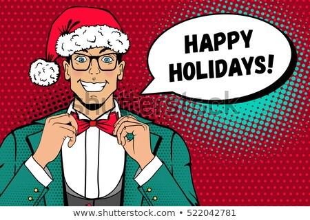 rajz · boldog · szakállas · férfi · ötlet · szövegbuborék - stock fotó © rastudio