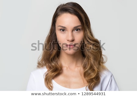 closeup shot of woman with style hairstyle isolated on white ba stock photo © nobilior