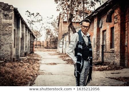 guapo · retro · hombre · camisa · Foto · jóvenes - foto stock © deandrobot
