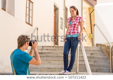 Couple taking picture on steps Stock photo © IS2