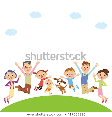 Three children jumping on hill Stock photo © IS2