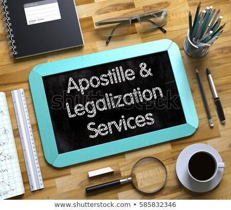 apostille services for documents on small chalkboard 3d stock photo © tashatuvango