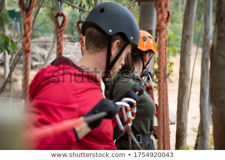 Pár tart vonal akadály erdő nő Stock fotó © wavebreak_media