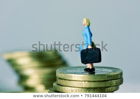 Minyatür kadın bavul euro madeni para Stok fotoğraf © nito