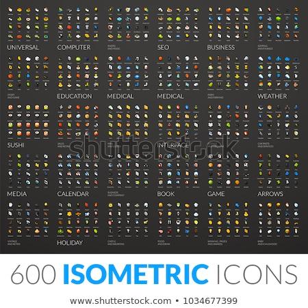 zoom · lencse · izometrikus · ikon · izolált · szín - stock fotó © sidmay