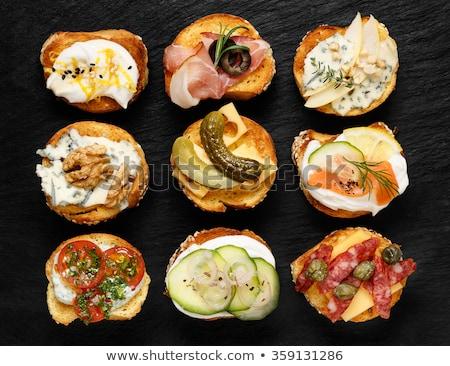 jambon · salam · beyaz · plaka · ekmek - stok fotoğraf © glorcza