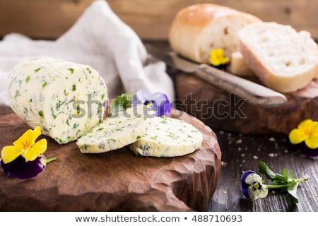 Sándwich hierba comestible flores mantequilla mármol Foto stock © Melnyk
