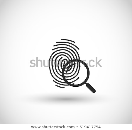 ID fingerprint icon with magnifying glass. Fingerprint vector illustration isolated on modern backgr Stock photo © kyryloff
