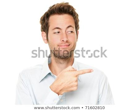 улыбаясь · бизнесмен · указывая · вверх · указательный · палец · изолированный - Сток-фото © rogistok