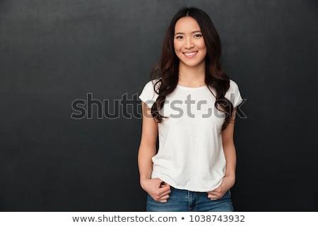 Jóvenes Asia mujer largo pelo oscuro mirando Foto stock © deandrobot