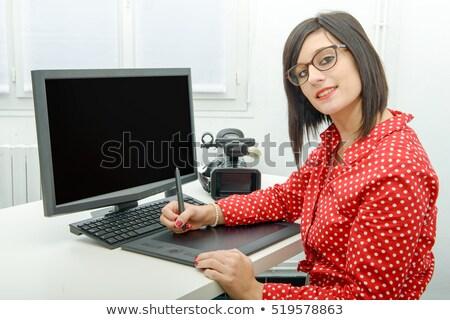 kunstenaar · fotograaf · foto · computer · grafische · tekening - stockfoto © andreypopov