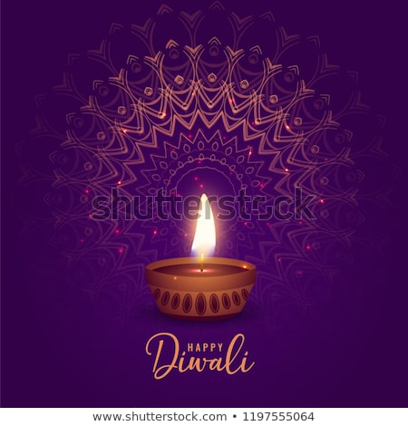 beautiful diwali wishes greeting with diya Stock photo © SArts