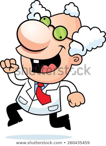 Cartoon mad naukowiec uruchomiony ilustracja człowiek Zdjęcia stock © cthoman