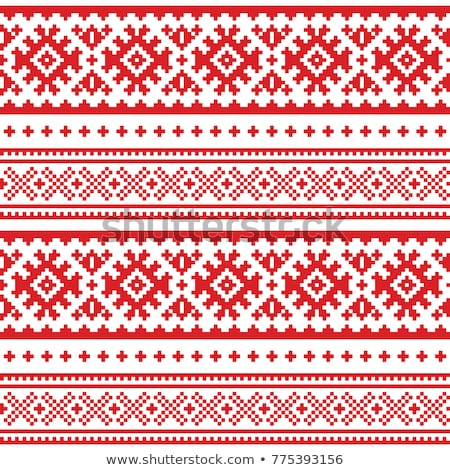 Winter vector pattern - Sami people traditional cross-stitch embroidery design, Scandinavian folk ar Stock photo © RedKoala