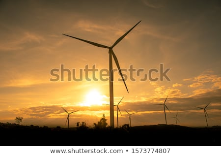 Wind power plant or turbines producing sustainable energy isolated on white background. Vector carto Stock photo © Lady-Luck