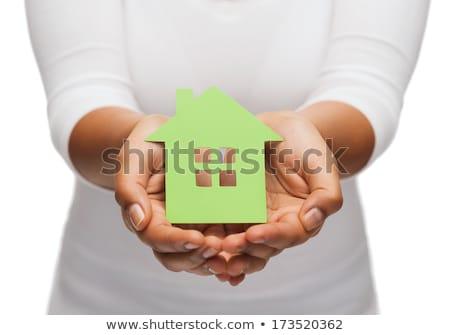 női · kezek · tart · ház · ikon · égbolt - stock fotó © dolgachov