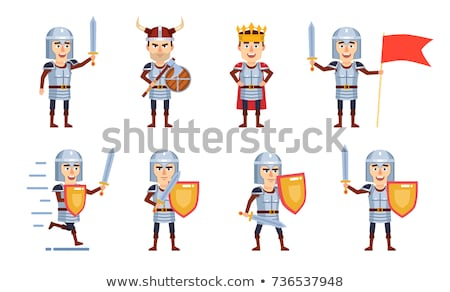 Cartoon knight with a sword and shield Stock photo © bennerdesign