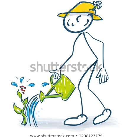 Stick figure with a semolina jug and watering plants Stock photo © Ustofre9