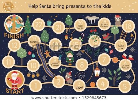 Karácsony társasjáték fenyőfa fák gyermek hó Stock fotó © colematt