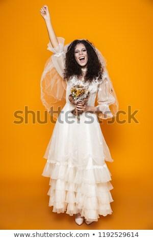 Happy bride zombie screaming and laughing isolated Stock photo © deandrobot