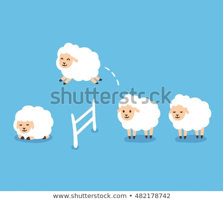 white sheep jumping over fence at night stock photo © colematt