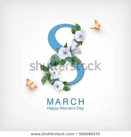 8 March. Happy Womens Day Floral Greeting card. International Holiday Illustration with Flower and H Stock photo © articular