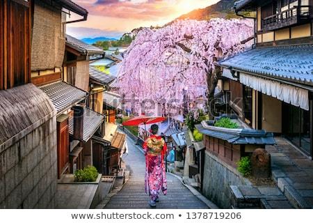 quimono · menina · em · pé · flor · sorrir - foto stock © colematt