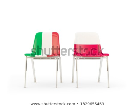 Two chairs with flags of Italy and poland Stock photo © MikhailMishchenko