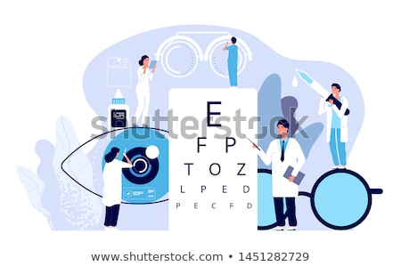 Сток-фото: Ophthalmologist Examining Patient Eyesight Vector Characters Set
