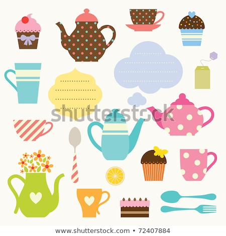 vector dessert tea party set stock photo © VetraKori