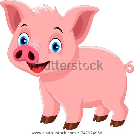 Cute cartoon pig isolated on white background. Vector illustration in sketch style. Stylized waterco stock photo © Arkadivna