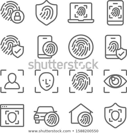 fingerprint identification icon biometric authorization and business security concept vector illus stock photo © olehsvetiukha