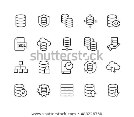 Eenvoudige wolk database vector icon lijn Stockfoto © WaD