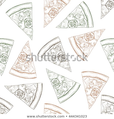 Seamless pattern scetch and color pizza with bacon Stock photo © netkov1