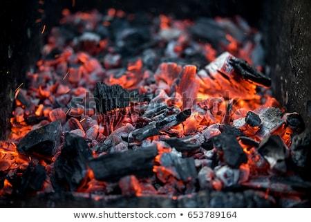 açık · yakacak · odun · yanan · şömine · yangın - stok fotoğraf © albund