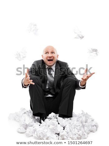 Angry businessman in depression hand throwing crumpled torn paper document Stock photo © ia_64