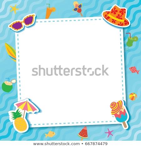 Grens sjabloon kokosnoot sap strand illustratie Stockfoto © bluering